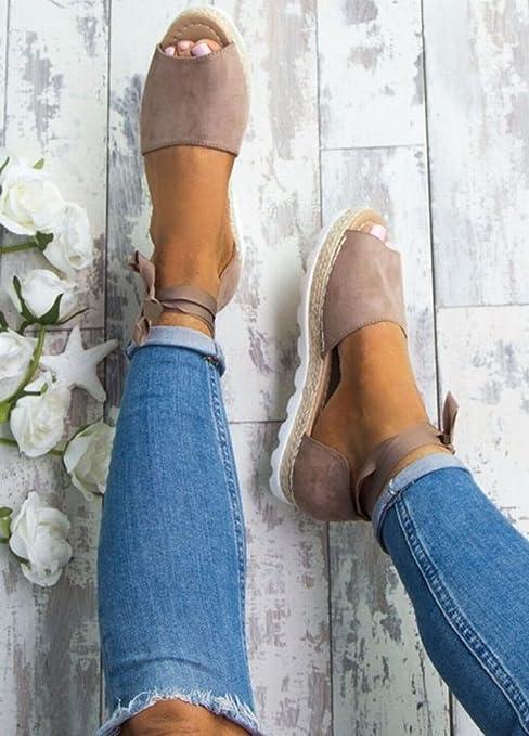 YTTY Frauen Fußbänder Bandage Flache Ferse Hanf Sandalen Atmungsaktive Sandalen, Khaki, 40