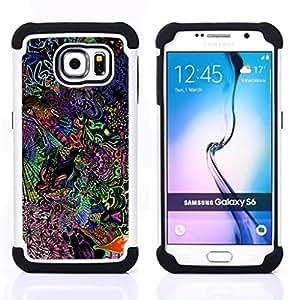 """Samsung Galaxy S6 / SM-G920 - 3 en 1 impreso colorido de Altas Prestaciones PC Funda chaqueta Negro cubierta gel silicona suave (Patrón lsd psicodélico"""")"""