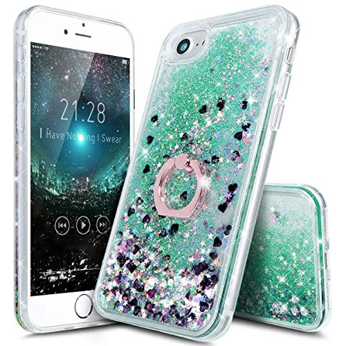 iPhone 7 Liquid Case with Stand - iPhone 6 6s 7 Clear Case Ultra Thin Luxury Bling Glitter Sparkle Quicksand Cases Cover with Ring Stand Holder for iPhone 6/6s/7 (4.7 inch)(Green)