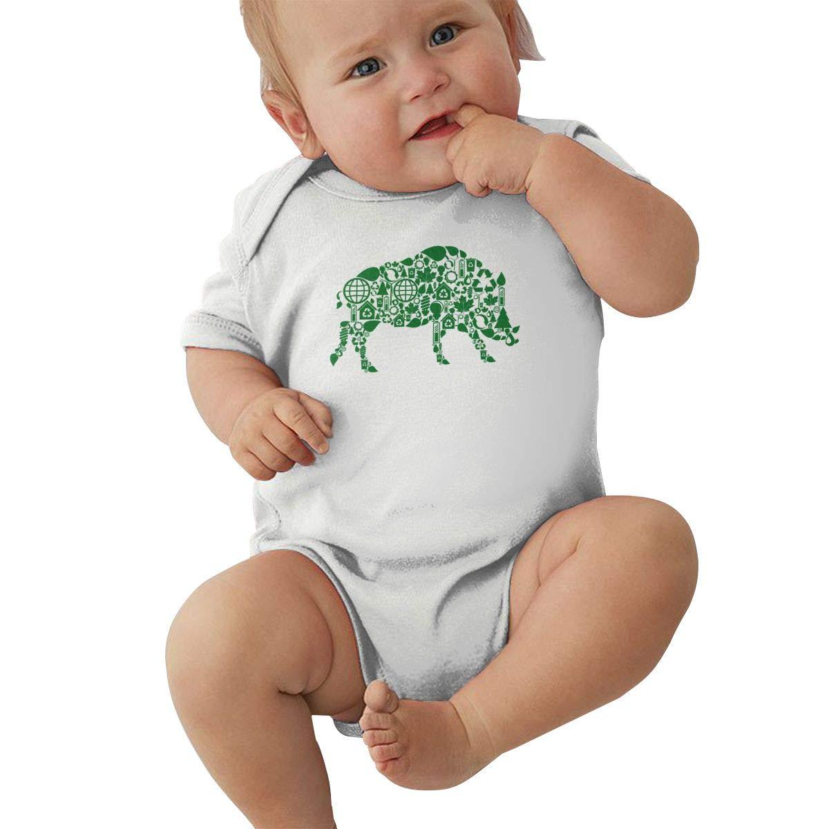 Newborn Baby Girls Bodysuit Short-Sleeve Onesie Cattle Green Silhouette Print Rompers Spring Pajamas