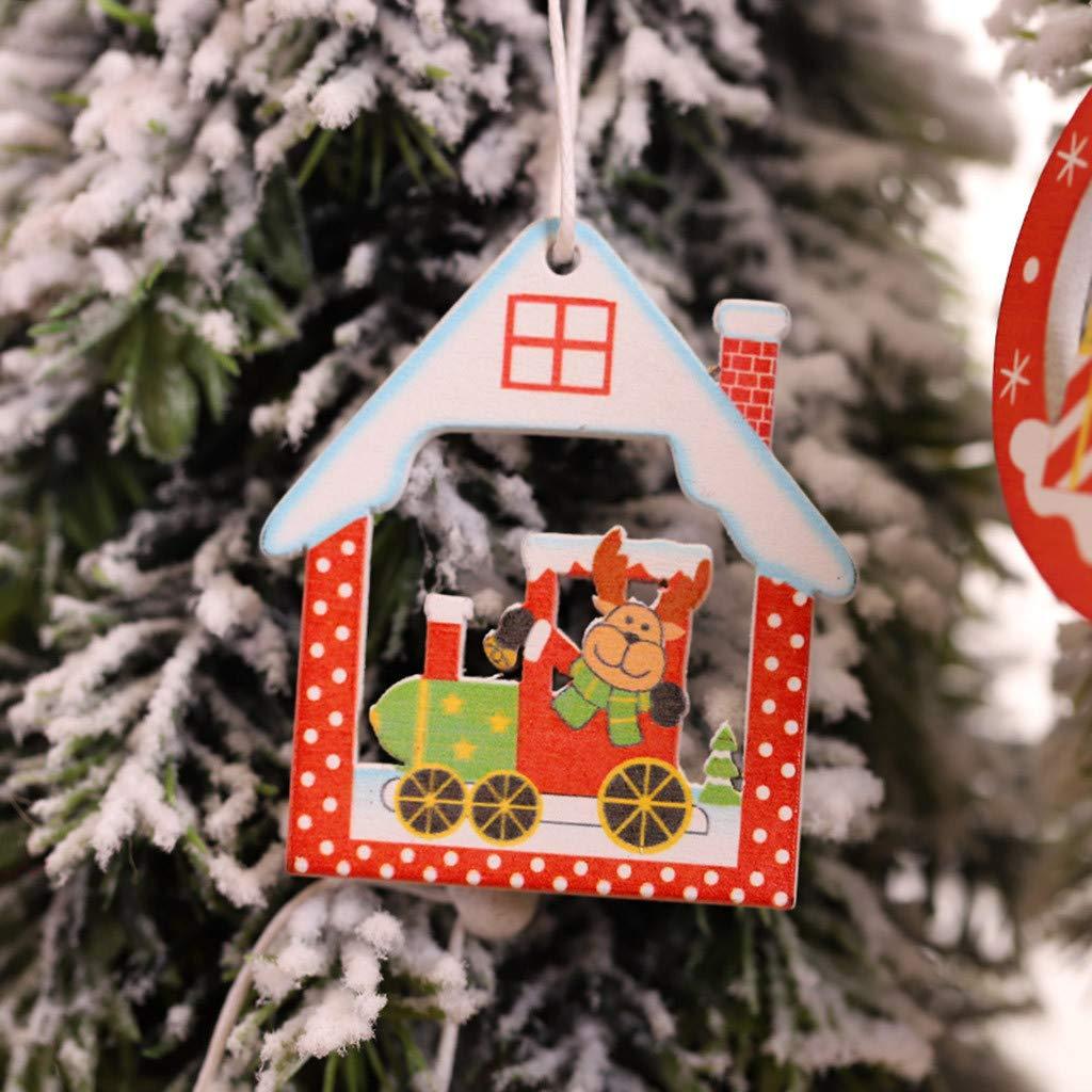 Colgante de madera de color /árbol de Navidad Adornos 12PC Xmas Home Hanging Decor C Decoraci/ón colgante de madera de Navidad