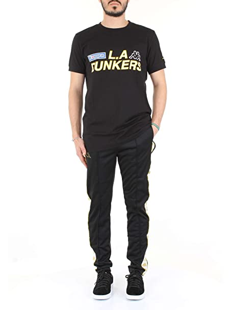 0e9d7fef Kappa Men's 222 Banda Astoria Snaps Slim Track Pants, Black/White/Gold,