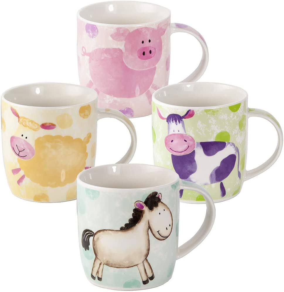 SPOTTED DOG GIFT COMPANY 4 Set Taza de Café Colores, Tazas de Café Te Originales 365 ml Tazas Grande de Porcelana con Animales Cerdo, Oveja, Vaca y Caballo, Regalos Mujer Hombre y Niños