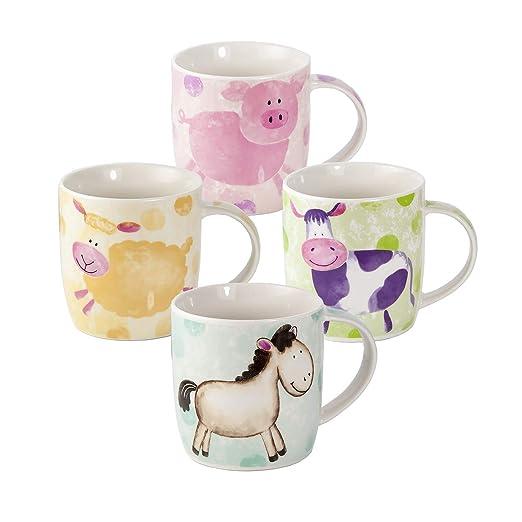 Juego 4 Tazas de Café Te Originales, Tazas Grande Mug, Resistente a Lavavajillas y Microondas, Tazas con Animales Cerdo, Oveja, Vaca y Caballo, ...