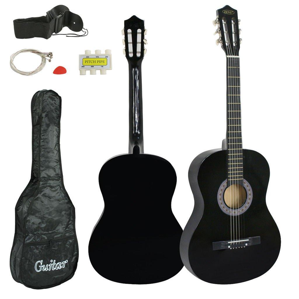 38'' Black Student Acoustic Guitar Starter Package,Gig Bag,Strap,Pitch Pipe,Pick