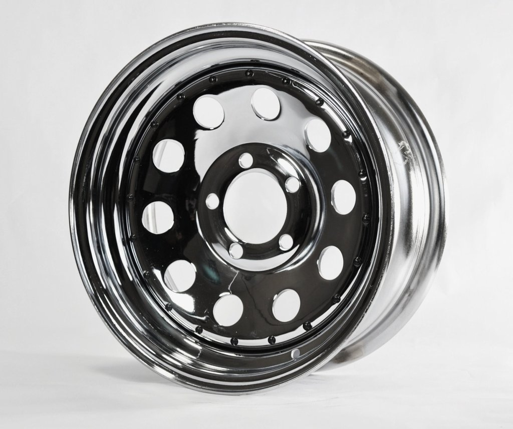 eCustomRim Trailer Rim Wheel 15' 15X6 5 Lug Hole Bolt Wheel Chrome Modular Design W/Rivets