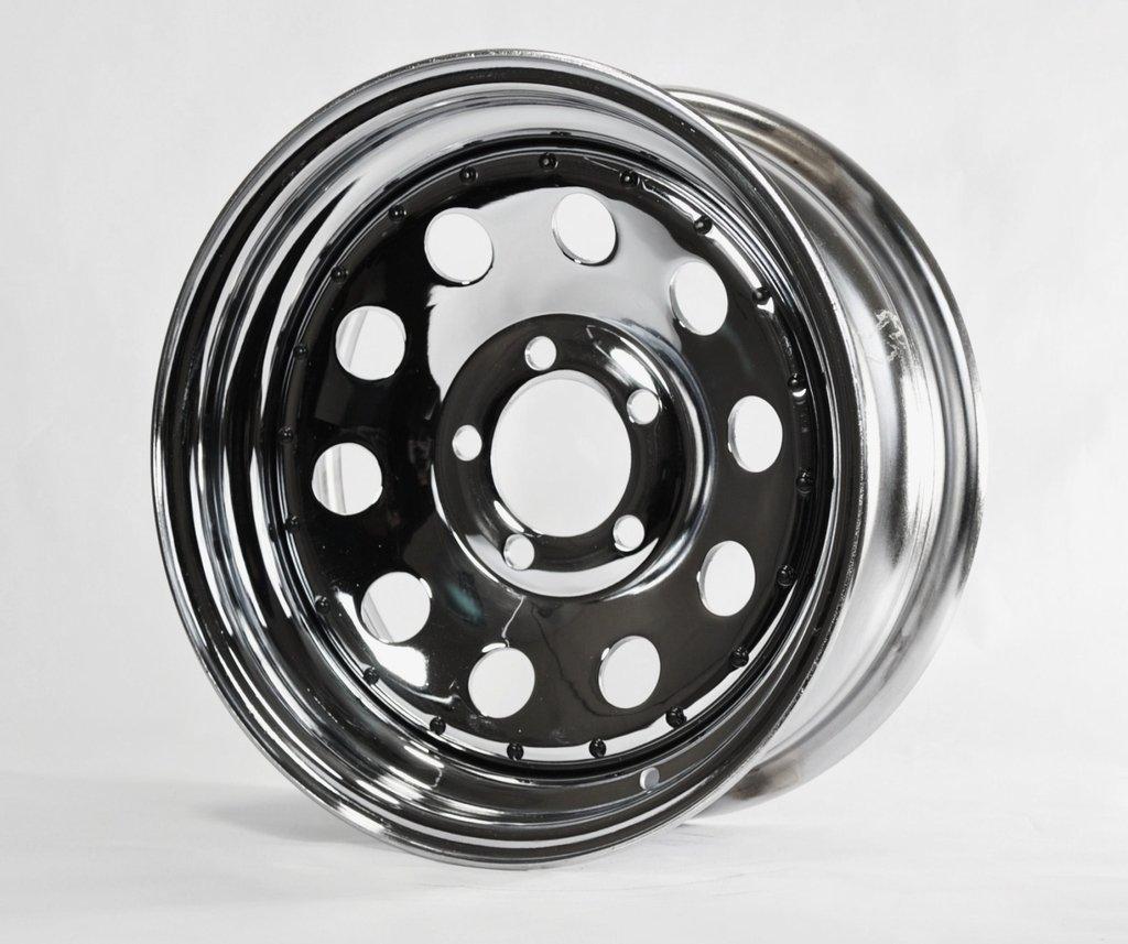15X6 5 Lug Bolt Wheel Chrome Modular Design W//Rivets Trailer Rim Wheel 15 in