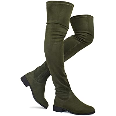 Premier Standard - Women's Fashion Comfy Vegan Suede Block Heel Thigh High Over The Knee Boots   Over-the-Knee
