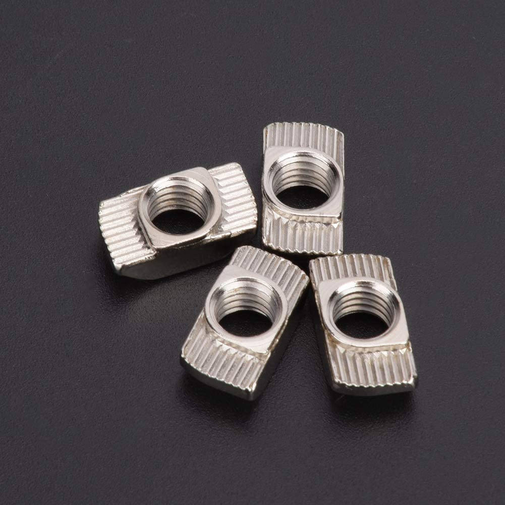 Fasteners 50pcs Carbon Steel Durable for 3D Printers CNC Lasers Cutters M5 T-Slot Nut EFFACER Elastic Nut