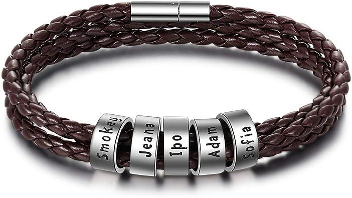bracelet homme cuir et argent gravure