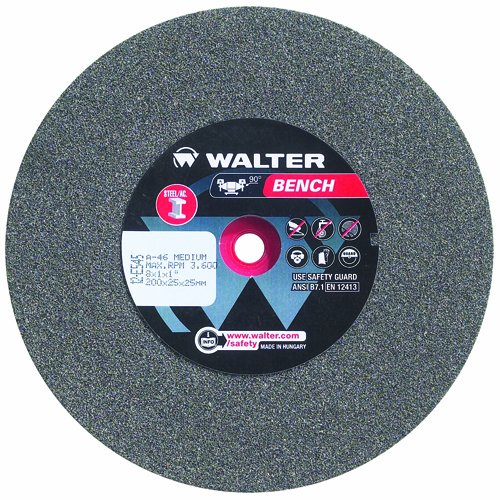 Walter Bench Grinding Wheel, Type 1, Round Hole, Aluminum Oxide, 7'' Diameter, 1-1/4'' Thick, 1'' Arbor, Grit 60 Fine (Pack of 1)