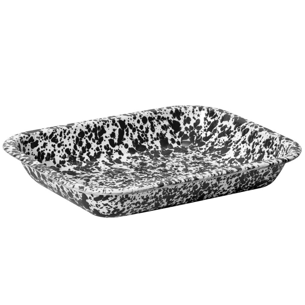 Enamelware Small Roasting Pan - Black Marble