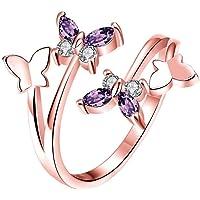Beitsy - Anillo Ajustable con diseño de Mariposas