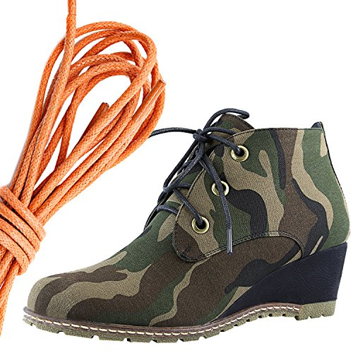 Dailyshoes Moda Donna Allacciatura Punta Rotonda Stivaletto Zeppa Alta Oxford Con Zeppa, Arancione Camouflage Cv