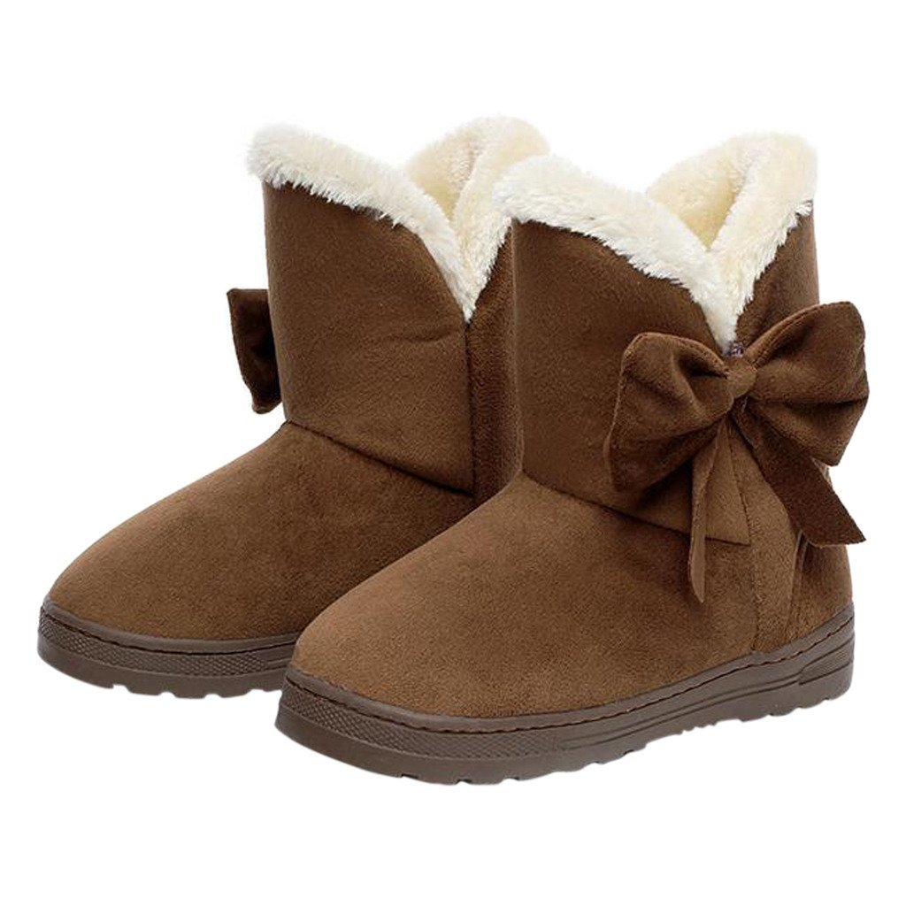 Dear Time Women Boots Solid Bowtie Slip-On Soft Cute with Round Toe Coffee US 7/US 7.5