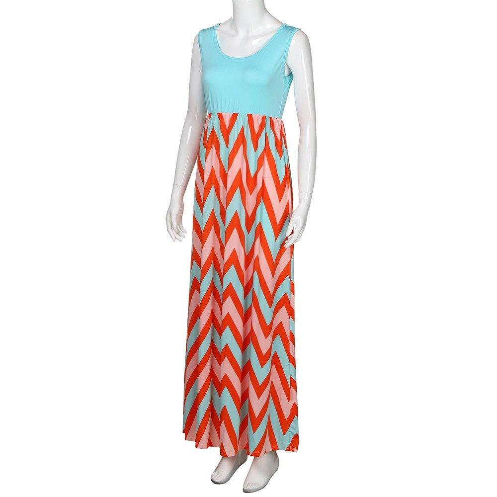 14faa09d9b8 Chanyuhui Women Tunic Tops Dresses Lady Plus Size Stripe Sleeveless Sundress  Summer Beachwear Long Maxi Dress  …