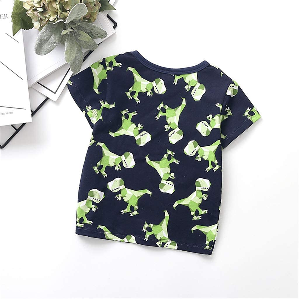 Loyalt Newborn Baby Boys Cute Summer Cartoon Dinosaur Tops T-Shirt Solid Shorts Outfits Sleepwears for 1-5 Years