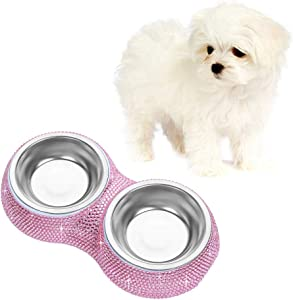 Soleebee Bling Bling Rhinestones Pet Feeder/Pet Bowls for Small Cats Dogs