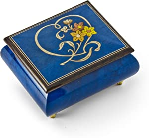 Gorgeous Dark Blue Stain Heart and Floral Wood Inlay Music Box - English Country Garden