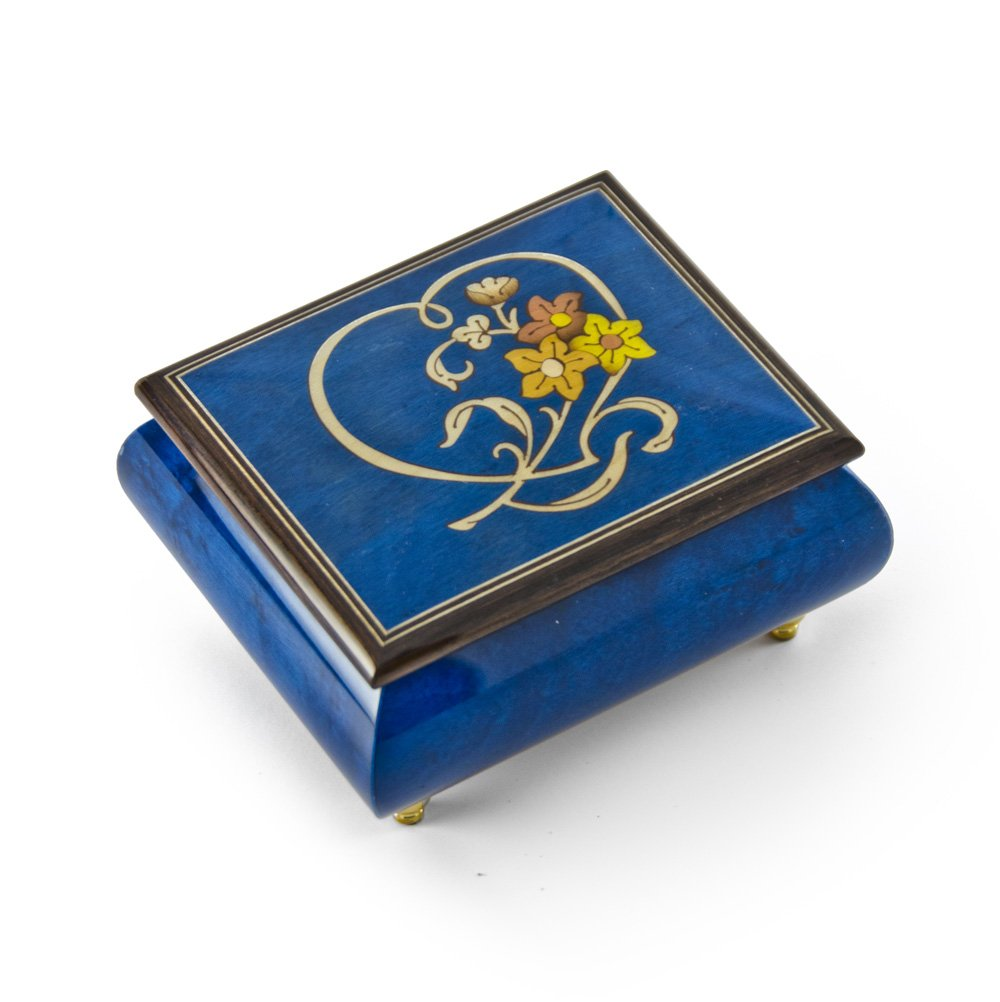 Gorgeous Dark Blue Stain Heart and Floral Wood Inlay Music Box - Rock of Ages - Christian Version by MusicBoxAttic