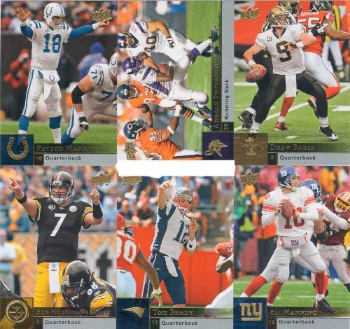 (2009 Upper Deck Football Complete Mint Hand Collated 200 Card Basic Set. Loaded with Stars Including Tony Romo, Matt Ryan, Kurt Warner, Eli and Peyton Manning, Ben Roethlisberger, Reggie Bush, Ladanian Tomlinson, Adrian Peterson, Brian Urlacher, Carson Palmer, Vince Young, Philip Rivers, Randy Moss, Tom Brady, Donovan Mcnabb, Drew Brees and Many Others!! Great Looking Cards, Sharp Action Photos Throughout the Set!!)