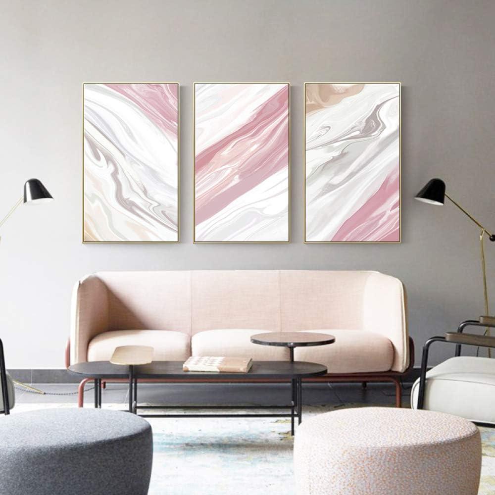 zxddzl Color Abstracto mármol Mixto Pinky Lienzo Pintura Estilo Cartel Sala de Estar Dormitorio Arte Imagen 3 60 * 100
