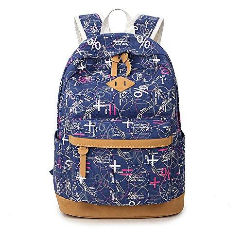 Minetom Lona Backpack Mochilas Escolares Mochila Escolar Casual Bolsa Viaje Moda Pintada Estilo Azul