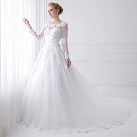 Long Sleeve Wedding Dresses For Bride 2018 New Sheer Tulle Back Sexy Bridal Gowns Pearls Princess at Amazon Womens Clothing store: