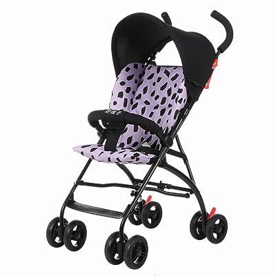 Poussette d'enfants à quatre roues légère choc pliant portable poussette (bleu) (violet) 74 * 46 * 97cm ( Color : Purple )