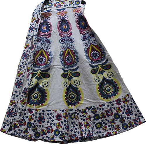 Wear Wrap Around Skirt (Creativegifts Cotton Bohemian-Style Wrap Around Adjustable Skirt in Colorful Elephant and Floral Print Casual Wear for Women (color-2280))