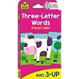 School Zone - Three-Letter Words Puzzle Flash Cards - Ages 3+, Preschool to Kindergarten, Letters, Letter Recognition, Word-P