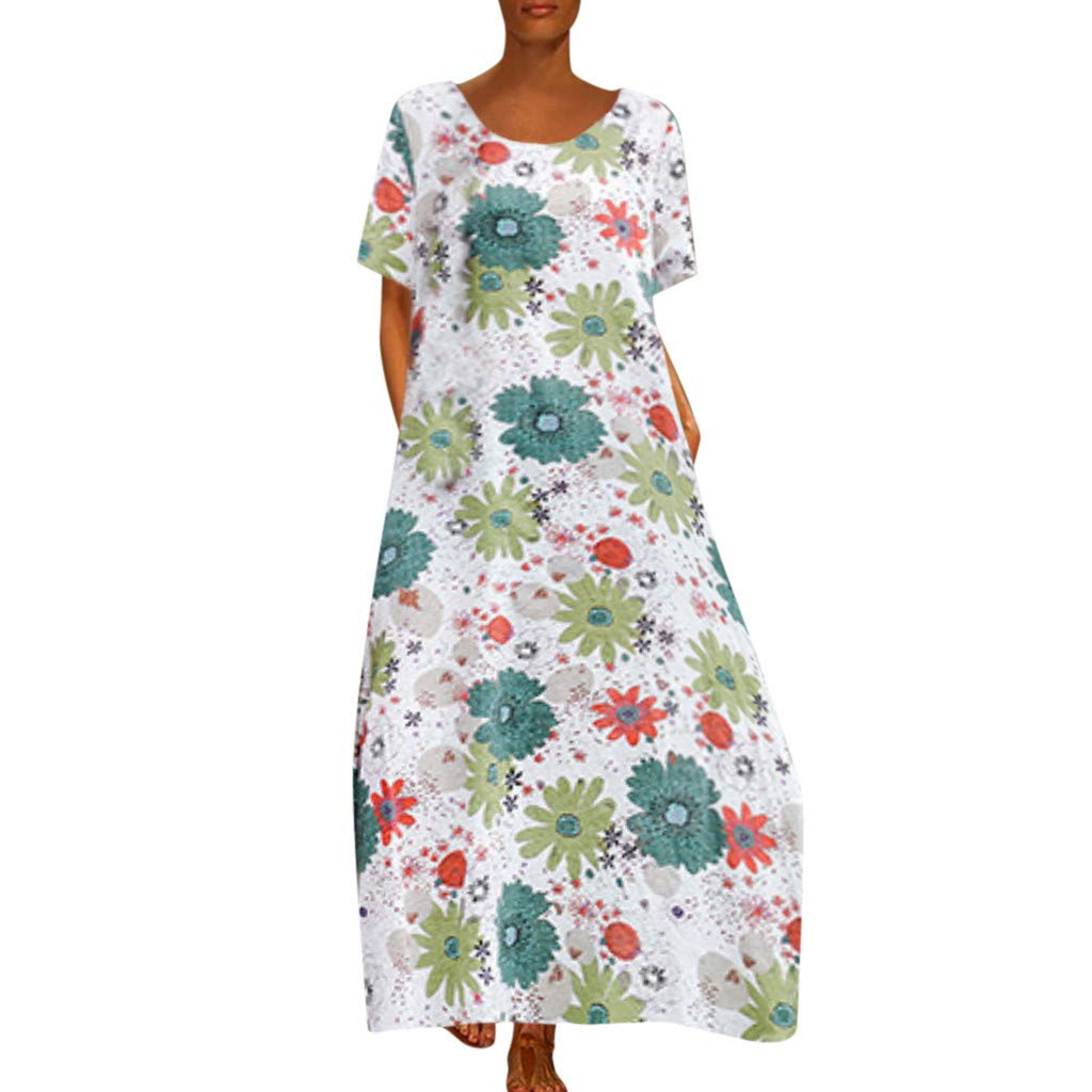 Women Floral Shift Dress -Ladies Loose Crew Neck Shorts Sleeve Print A Line Maxi Dresses - Casual Indoor Outdoor Daily Clothes (M, Green)