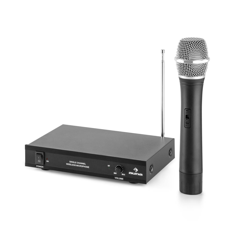 Auna VHF-2-HS Set sans Fil 2 canaux syst/ème VHF 2X Micro-Casque jusqu/á 50m, r/écepteur Compact avec bo/îtier m/étallique et fa/çade Aluminium