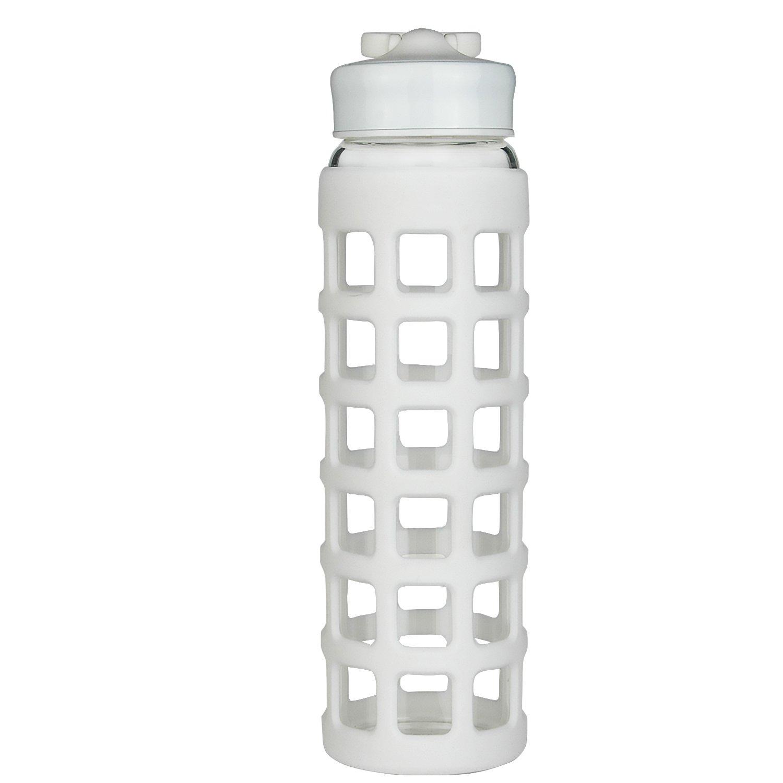 shbrifaスポーツホウケイ酸ガラス水ボトルwithシリコンスリーブ24 oz B077QNKJPH ホワイト