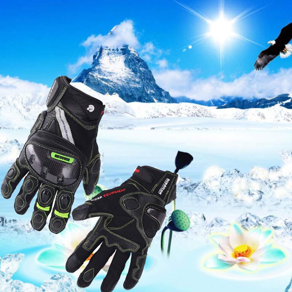 YSH Motorradhandschuhe Motorrad Radfahren Outdoor Sport Männer Handschuhe Ski Klettern Wandern Touchscreen Warm Leder Winter Vollfinger Reflektierende Streifen,Grün-XL