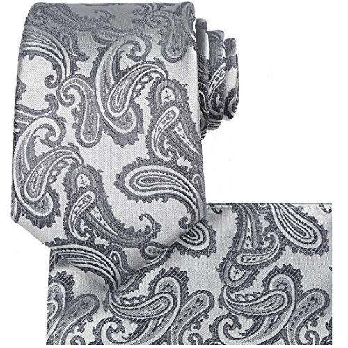 KissTies Mens Extra Long Tie Set: Silver Gray Paisley Necktie + Hanky + Gift Box (63'' XL)