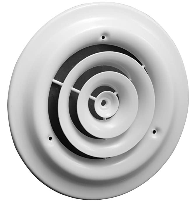 "8"" Round Ceiling Diffuser - Easy Air Flow - HVAC Duct [White] [Outer Dimensions: 12""]"