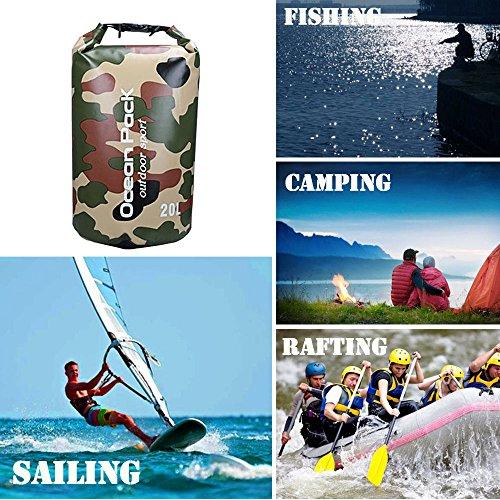 Wasserdichte Tasche 20L Kapazität Aufbewahrungstasche Tasche für Outdoor-Angeln Schwimmen Wandern Camping Rafting Boating Floating Camouflage