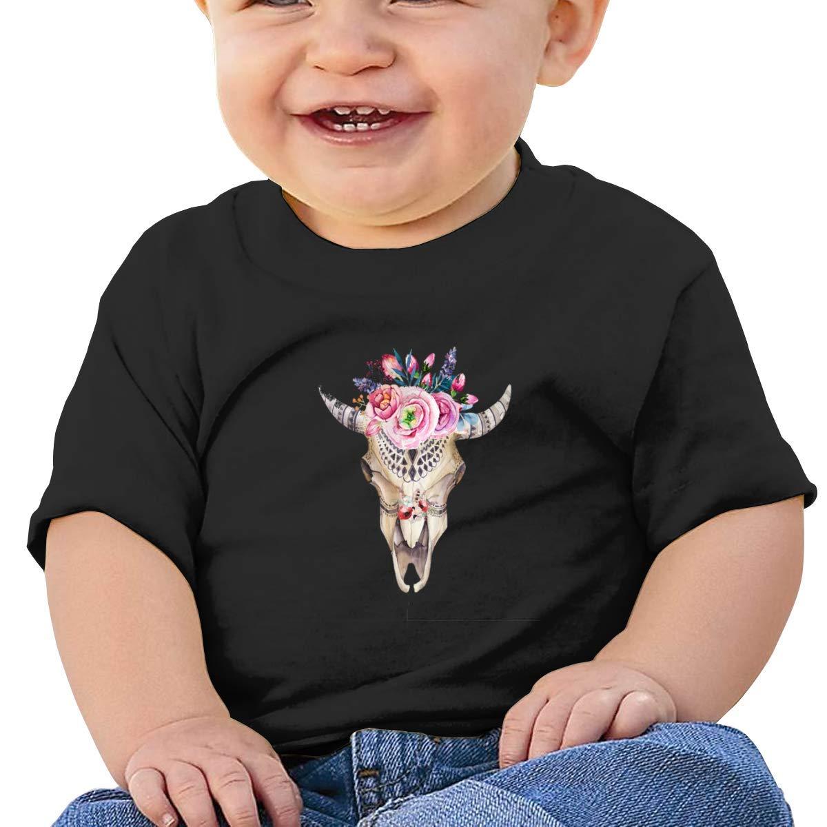 SCOTT CARROLL Cow Skull with Flower Short Sleeves Tshirts Baby Girls