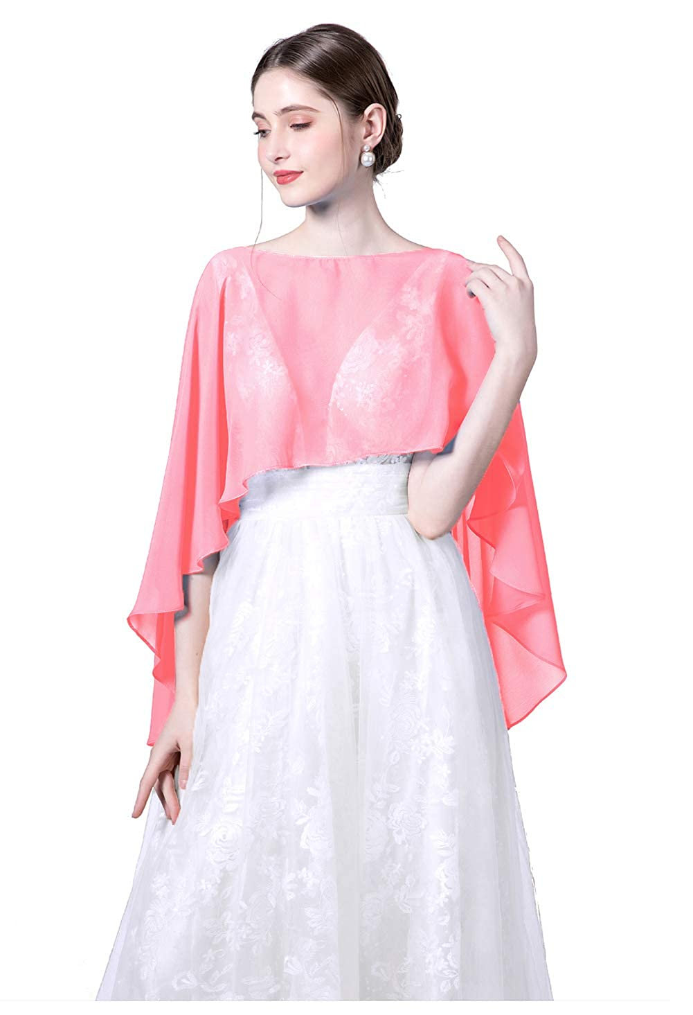 Wedding Capes Womens Soft Chiffon Cape Shawls and Wraps Shrugs For Evening dresses