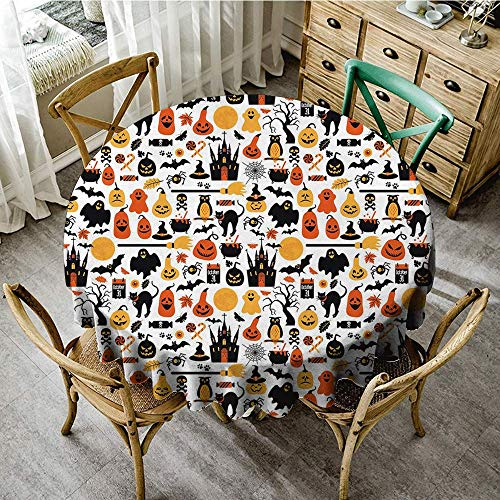 DONEECKL Polyester Tablecloth Halloween Halloween Icons Collection Candies Owls Castles Ghosts October 31 Theme Washable Tablecloth D39 Orange Yellow -
