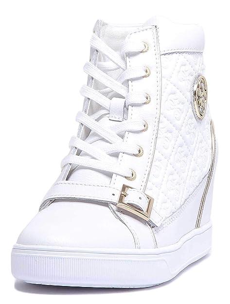 pretty nice 1e07a 6ddc4 Guess Sneakers Alte Donna Pelle Bianca con Logo COD ...