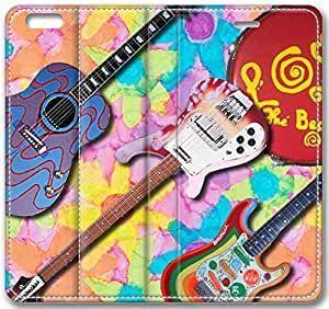 "Abstract Artistic Psychedelic The Beatles Instruments Leather Cover for iPhone 6 Plus(5.5"")"