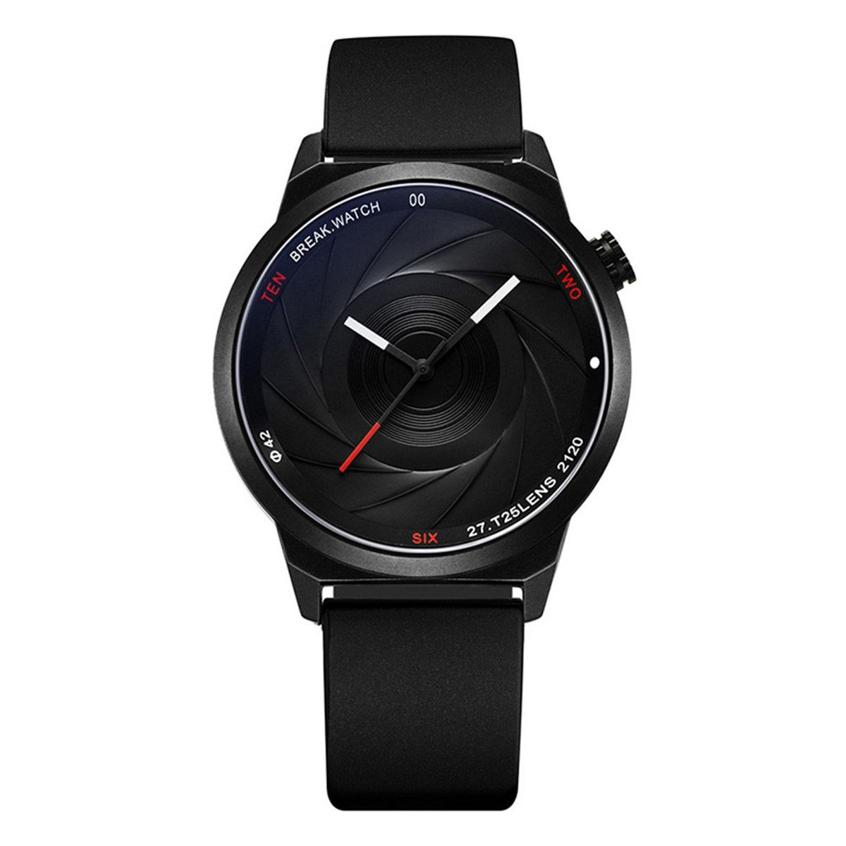 MODIWEN Lens Shape Dial Men Watch Fashion Mineral Reinforced Glass Mirror Quartz Movement Watch (Black)