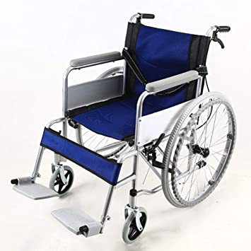 QIDI Silla De Ruedas Acero Plegable Mayor Carretilla Llanta Solida Doble Freno 13kg (Color : Azul): Amazon.es: Hogar