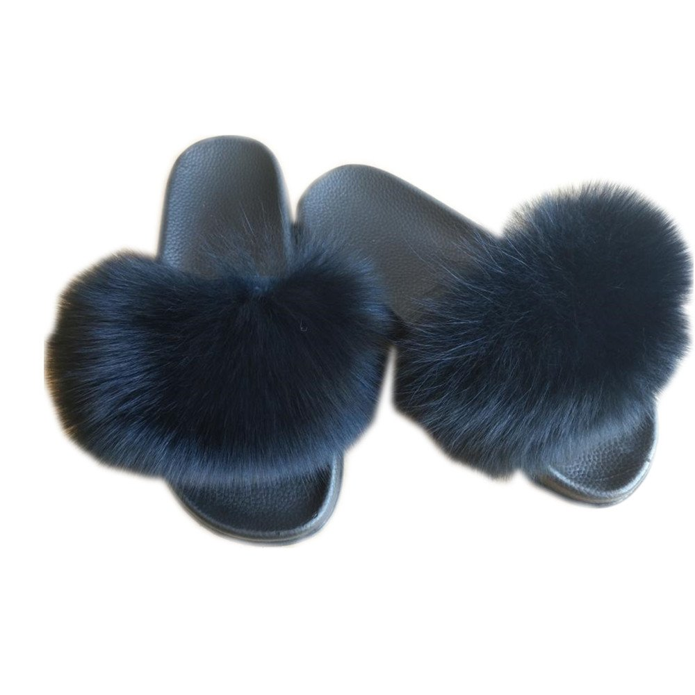 MH Bailment Women Real Fox Fur Feather Vegan Leather Single Open Toe Single Leather Strap Slip On Sandals 6 B(M) US|Ink-blue Colour B07DPFGND1 06945c