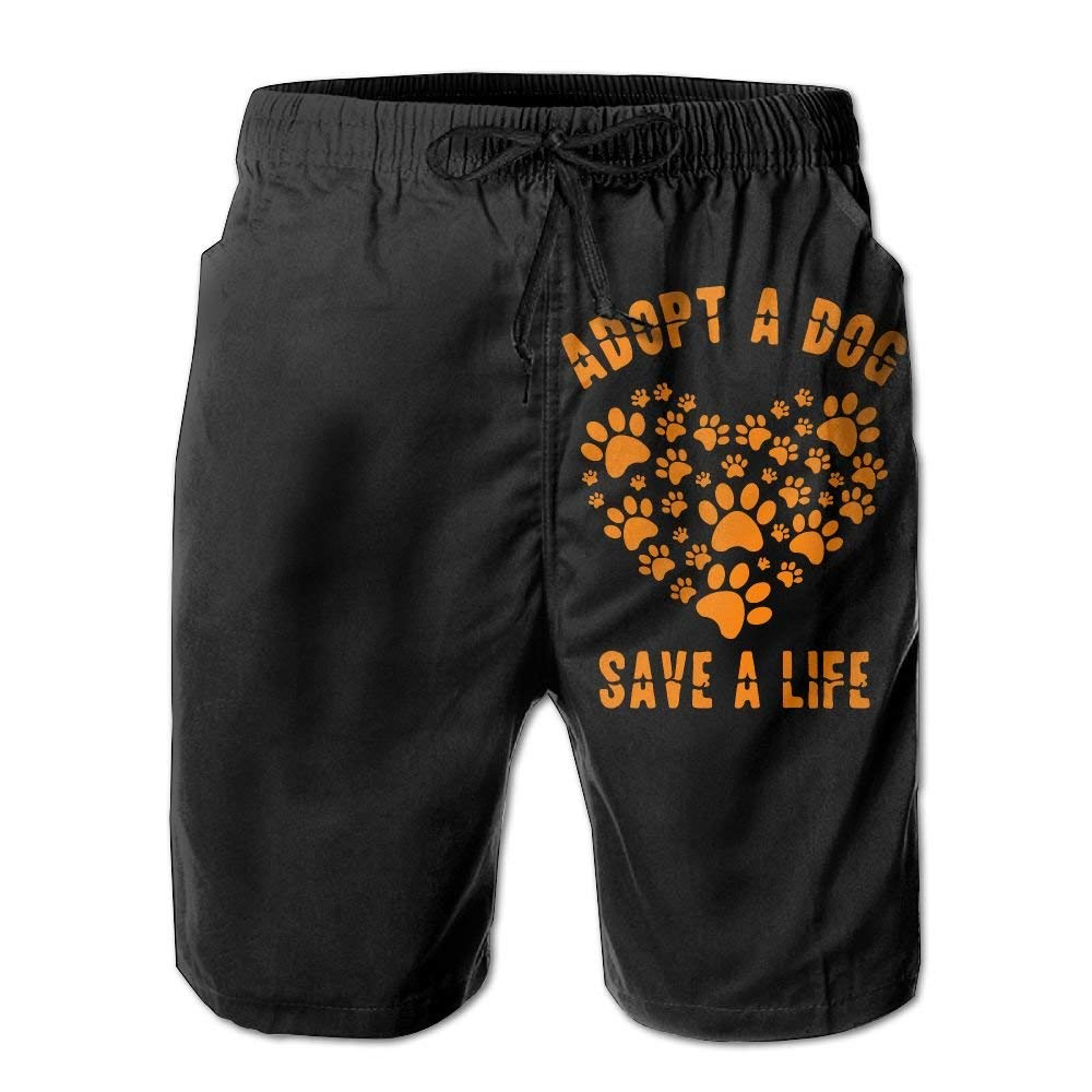 Adopt A Dog Save A Life Mens Fashion Boardshorts Slim-Fit Swim Trunks with Pockets