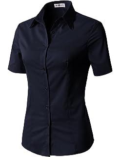 bd6c60e4925 CLOVERY Women s Basic Simple Short Sleeve Trendy Slim Fit Button Down Shirt
