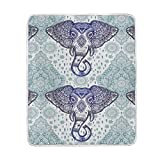 ALAZA Indian Africa Bohemian Elephant Flower Plush Throws Siesta Camping Travel Fleece Blankets Lightweight Bed Sofe Size 50x60inches