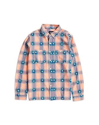 c686c8e92f9d3 HUF Plantlife Plaid' Longsleeve Shirt. Smoked Peach.: Amazon.co.uk ...